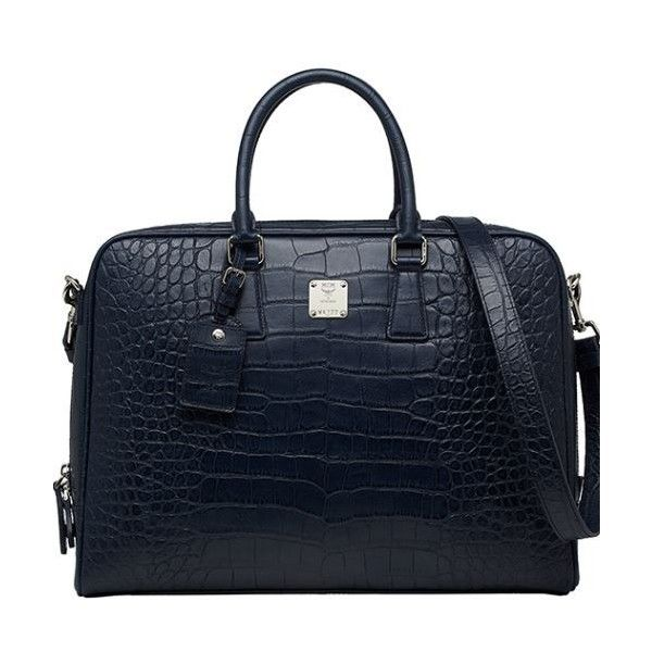 MCM Sale]MCM First Homme Medium Briefcase Navy MMF3SAF01VY ❤ liked on Polyvore featuring bags, handbags, blue handbags, mcm handbags, mcm purse, mcm and navy bag
