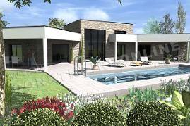 plan de maison en U contemporaine AMAZONE piscine