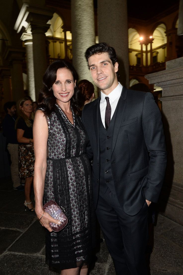Andie MacDowell in Bottega Veneta and Roberto Bolle