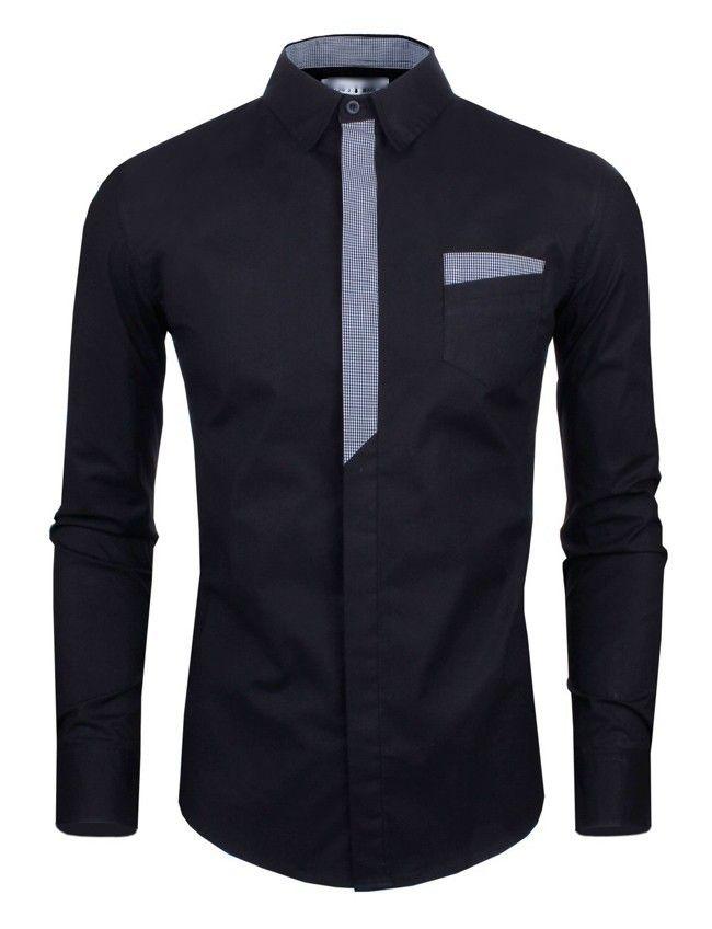 Camisa Casual Moderna con Detalles a Rayas Frontales y en las Mangas - en Negro y Blanco