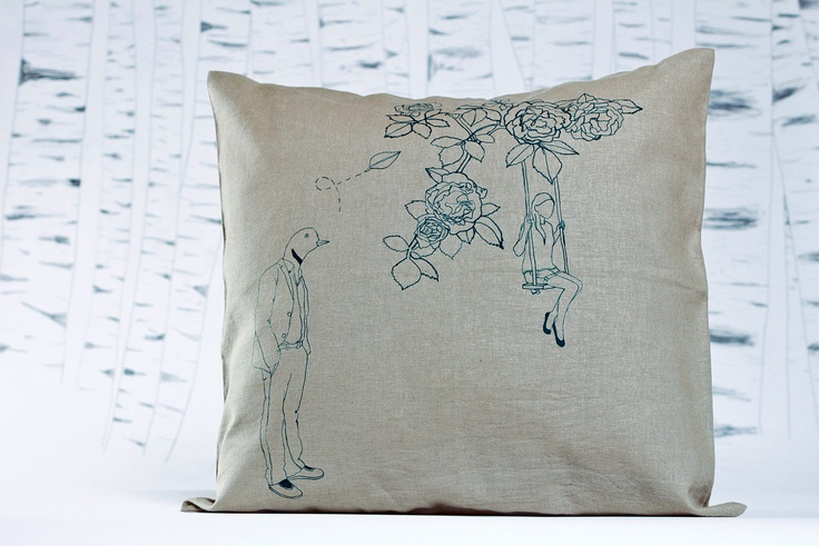 Rose letter.: limited edition, screen print pillow-case