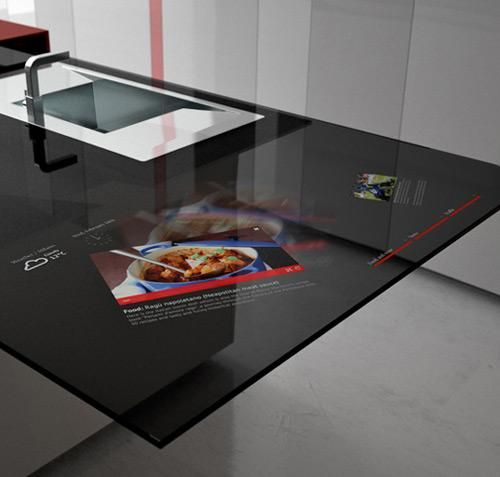 Toncelli's Prisma smart kitchen has embedded Galaxy Tab technology.