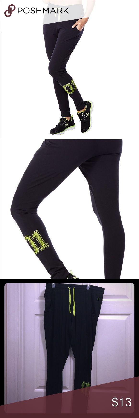 Zumba U slim fit jersey pants XL Women's U Slim Fit Jersey in back to black, cotton, Shape Retention, Shrink Resistant, Moisture Wicking, 96% Cotton, 4% Spandex. XL Zumba Pants Track Pants & Joggers