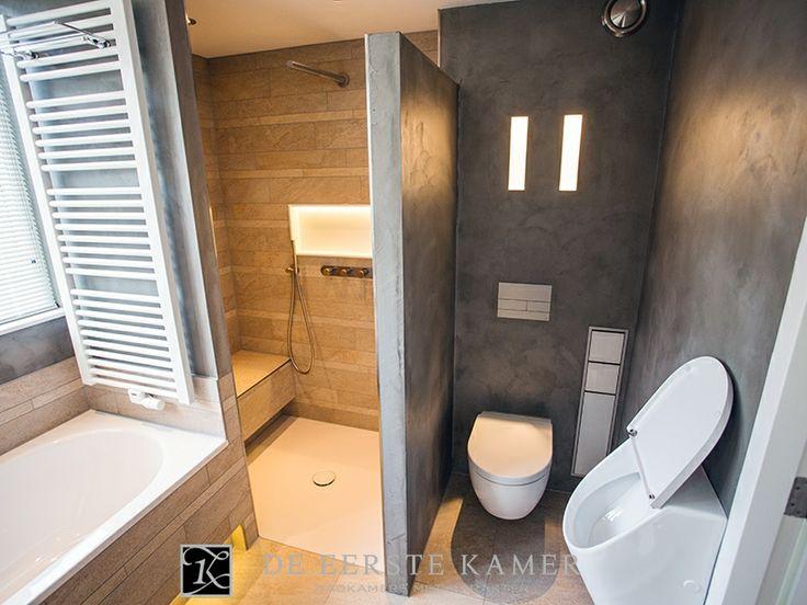 De eerste kamer tegels en beton cir zijn in deze badkamer met elkaar gecombineerd de warme - Badkamer lay outs met douche ...