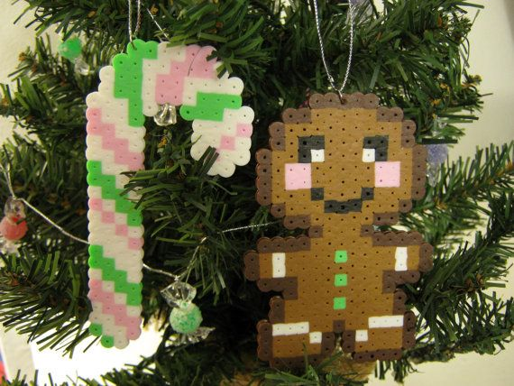 Kawaii GINGERBREAD Person and/or CANDY CANE Christmas Tree Ornaments with Silver String // Pastel Perler Hama Fuse Beads by RainbowMoonShop