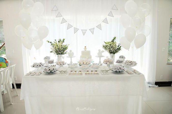 Full Dessert Table from an Elegant White Baptism Dessert Table via Kara's Party Ideas | KarasPartyIdeas.com (4)