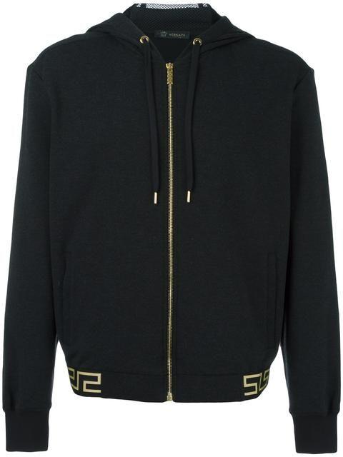 Shop Versace 'Greca' hem hoodie.
