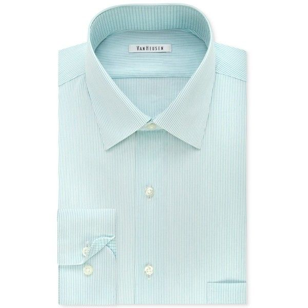 Van Heusen Men's Classic-Fit Non-Iron Striped Mint Dress Shirt ($45) ❤ liked on Polyvore featuring men's fashion, men's clothing, men's shirts, men's dress shirts, mint, mens mint green shirt, mens dress shirts, mens striped shirt, mens no iron dress shirts and mens non iron dress shirts