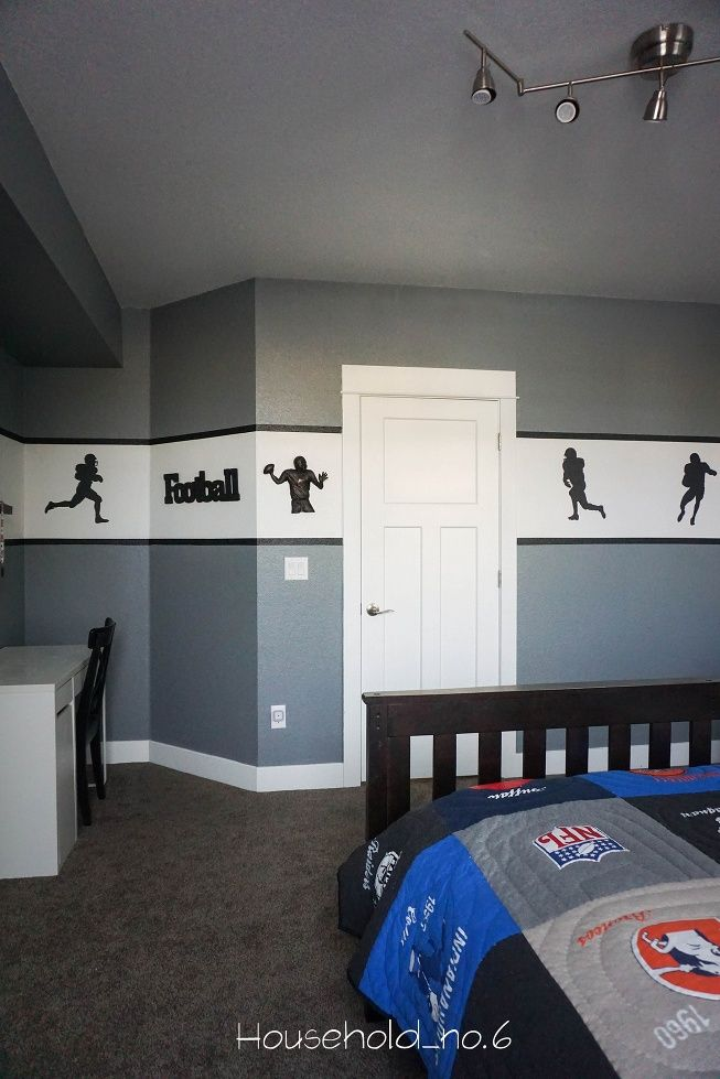 Boys Football Themed Bedroom. Grey And White With Football Decals. Modern,  Classic And