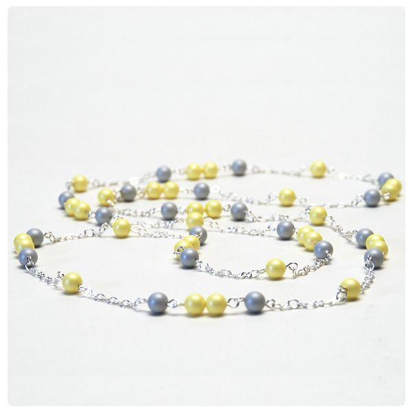 Nyaklánc inspiráció #Pastel #Grey és Pastel #Yellow színű #Swarovski Crystal Round gyöngyökből.