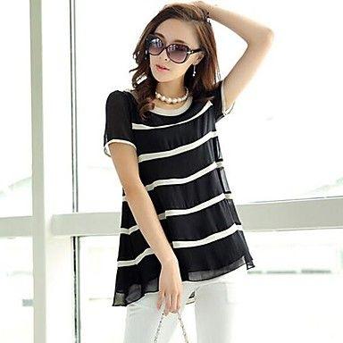 Cuello redondo Mujeres camiseta de moda de la raya suelta de manga corta                            – USD $ 36.39