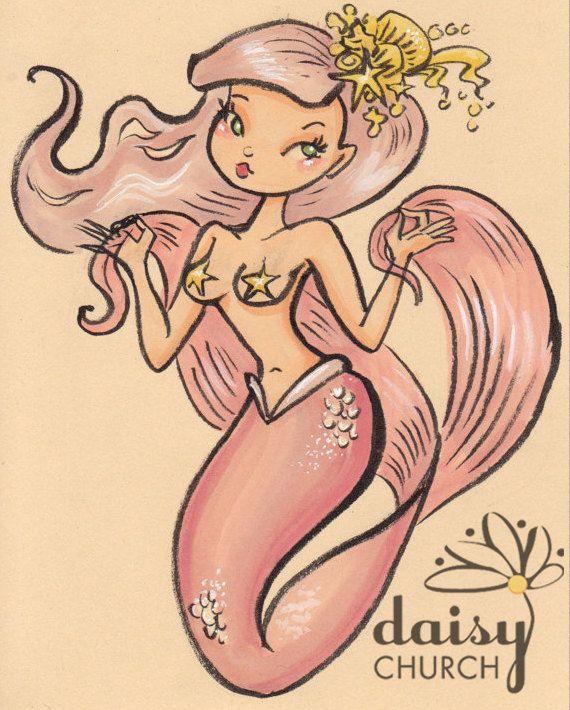 Roze zeemeermin van Pin-up Girl oorspronkelijke tekening