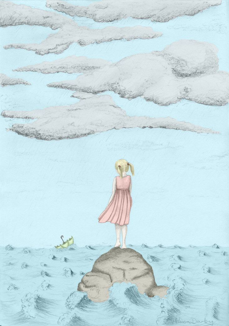 Coloured Stormy Weather Girl II – Graphite Pencil Drawing
