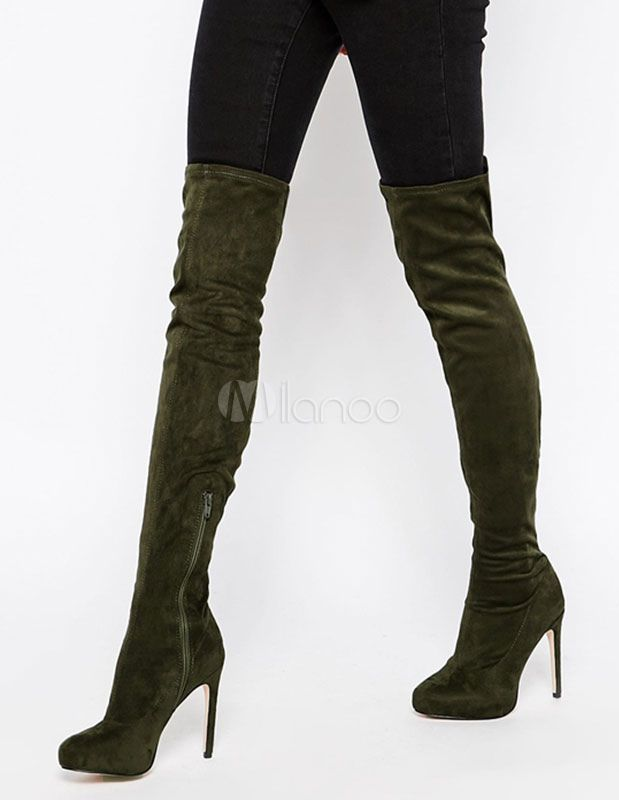 6cfad04b043 Suede Elasitic Boots Over The Knee High Heel Platform Thigh High Boots For  Women Tight High