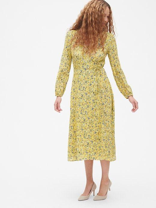 9ac093d3a2fa Gap Women s Long Sleeve Flounce Wrap Midi Dress Yellow Floral in ...