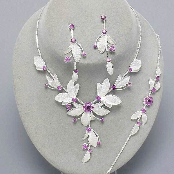 Light amethyst crystal flower necklace bracelet and earrings set only £14.99 from WWW.GlitzyGlamour.co.uk (available in other colours)