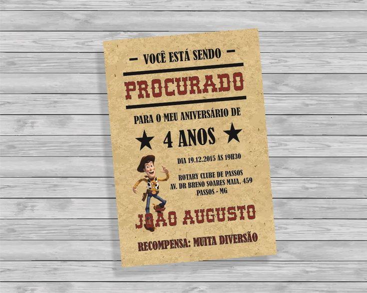 Arte Digital para convite Toy Story. <br>Ideal para mandar por email, facebook, whatsapp para seus convidados.