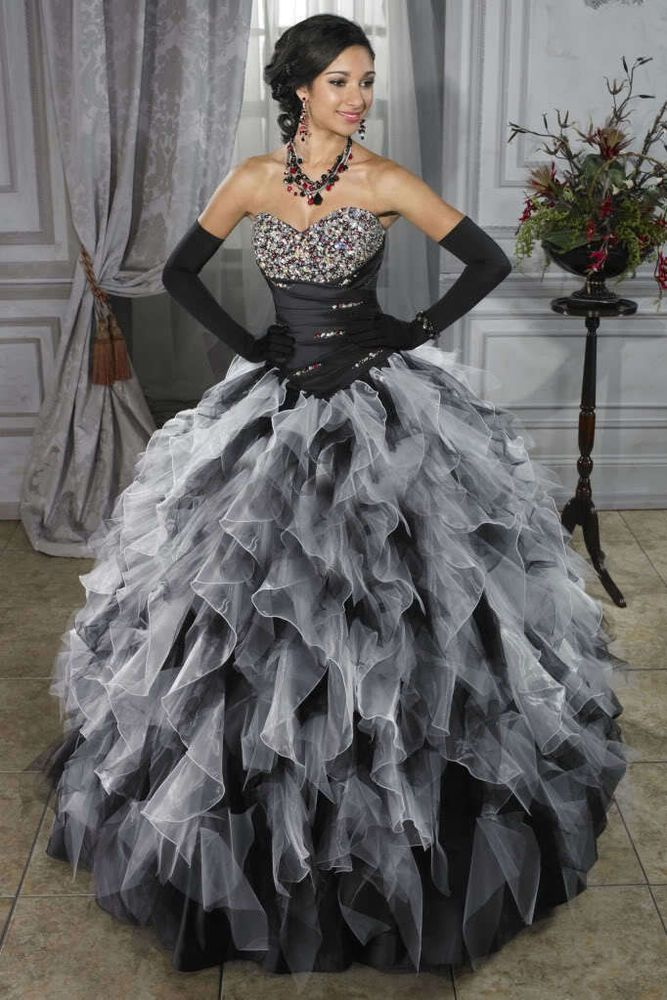 Black White Sexy Ball Beads Quinceanera Applique Evening Prom Wedding Gown Dress