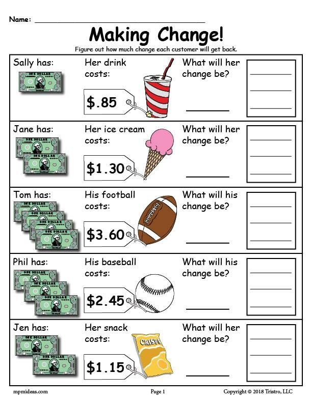 Printable Making Change Money Worksheets 2 Versions Money Worksheets Money Math Teaching Money