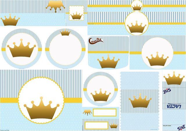 Corona en Fondo Celeste: Etiquetas para Candy Bar para Imprimir Gratis.