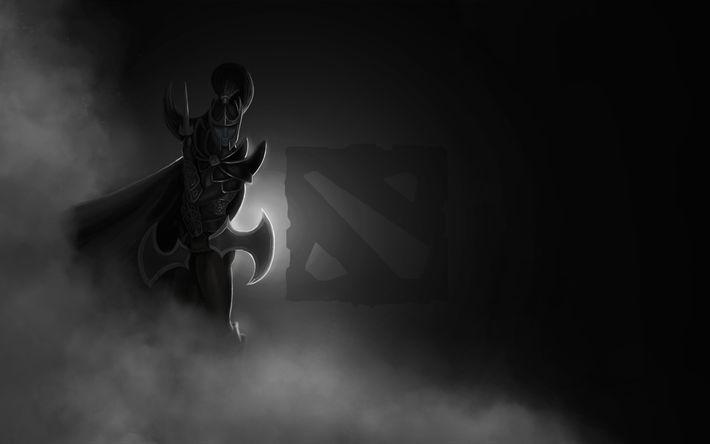 Descargar fondos de pantalla 4k, Dota 2, la oscuridad, el logotipo, guerrero