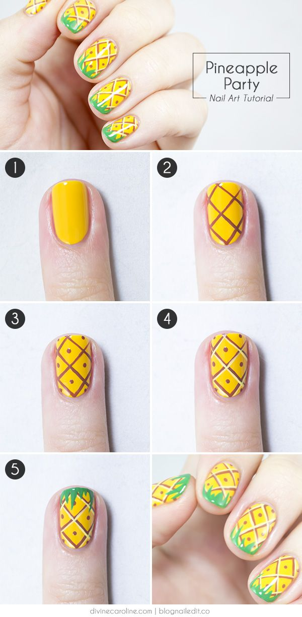 Pineapple nails! They're adorable and easy. And they look so real, you might just be tempted to take a nibble from this nail art.