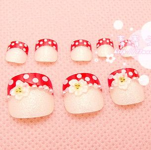Aliexpress.com : Buy Little daisy red polka dot white all match ! finger patch false nail from Reliable nail art brush suppliers on Jessie's shop. $4.19