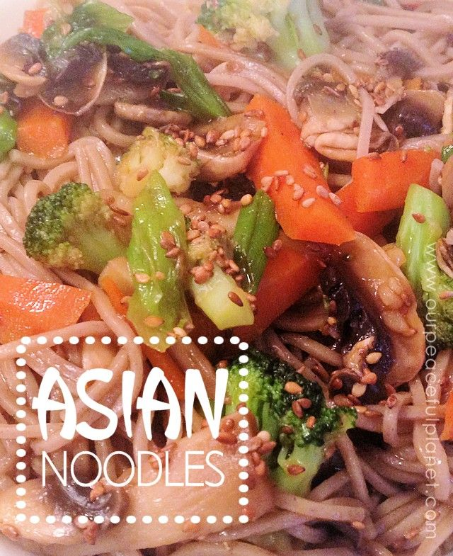 This healthy Asian dish is filled with broccoli, red bell peppers, snow peas, mushrooms and onions tossed in with thin spaghetti pasta and seasonings. To really spice it up use Sesame Chili oil!   Then toss on some toasted sesame seed. Delish!