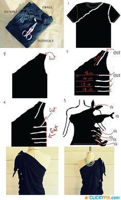DIY ... So wird aus einem einfachen schwarzen T-Shirt ein Partyoutfit.