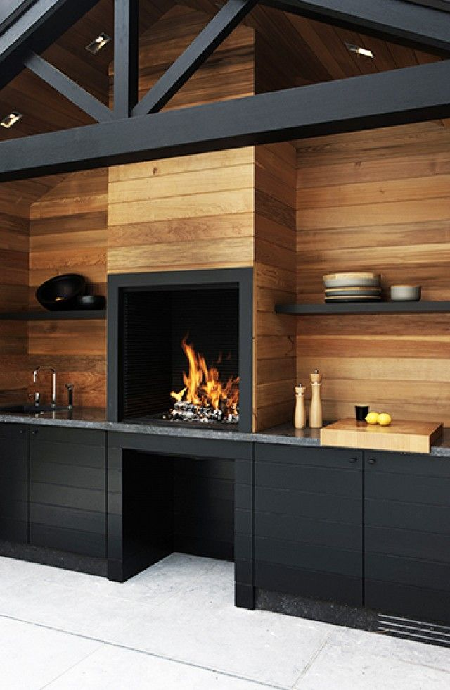 Timber and black patio detail. The+Most+Amazing+Outdoor+Kitchens+via+@domainehome