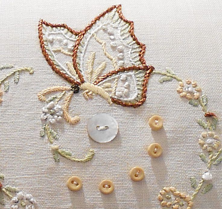 Vintage Hand Embroidered Pillow Butterfly Flowers Ivory Linen and Lace.