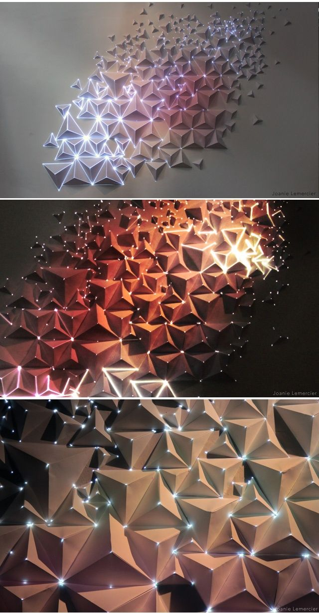 Origami Meets Projection Mapping.        Bristol-based visual artist Joanie Lemercier has been experimenting with light projected onto 3D canvases. This lastest work created for a Birmingham gallery space was created using sheets of A4 paper folded into pyramids onto which he projected light resulting in an interesting organic effect.: