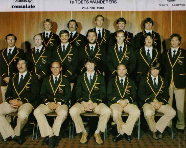 1st test 26/4/80 Springbok @ Wanders vs Suid Amerika/Pumas. Back row R to L: Naas Botha Johan Strauss Rob Louw Willie du Plessis Ray Mordt Middle Gerrie Germishuys Richard Prentis Theuns Stofberg Louis Moolman Pierre Edwards; Dave Fredrickson; Tommy du Plessis. Front Kevin de Klerk Butch Lochner (manager) Morné du Plessis (Cap) Nelie Smith (Coach) Peter Whipp.