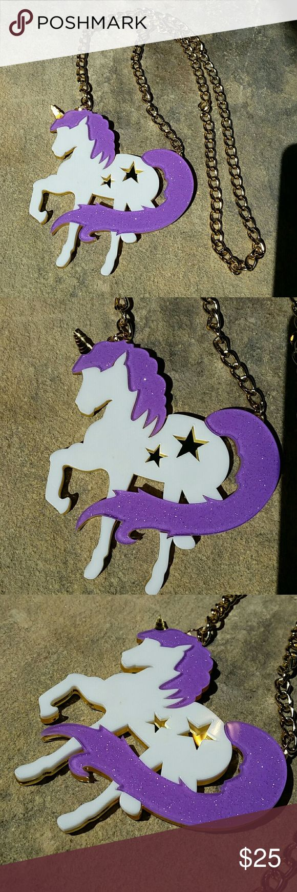 "HUGE Unicorn Laser Cut Fantasy Statement Necklace New without tags, HUGE lazer cut acrylic sparkly purple, white, & gold mirror necklace. Very Japanese street style, pastel punk/goth, a major statement and big trend this season! The horn and star cutouts are reflective mirror gold, the back mirror silver, both sides still have protective film on them (blue film on back) to peel off before wearing. Chain is 28"", unicorn 4"" wide, 4"" tall.  Thank you for visiting my closet, and happy poshing…"