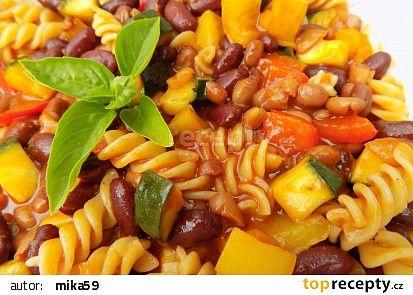 Těstoviny se zeleninou a fazolemi recept - TopRecepty.cz