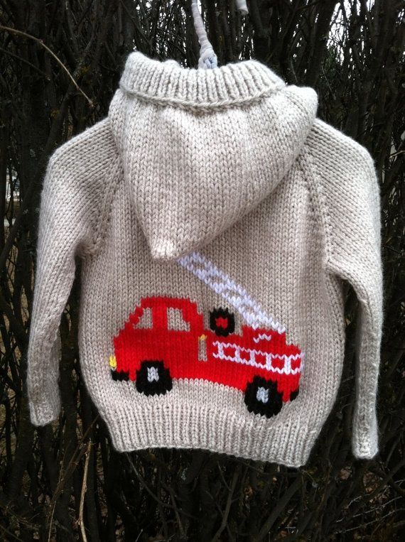 Firetruck hand knit hooded baby sweater by threeknitters on Etsy, $60.00 [] #<br/> # #Sweater #Patterns,<br/> # #Knitting #Patterns,<br/> # #Baby #Sweaters,<br/> # #Weave,<br/> # #Tissues<br/>
