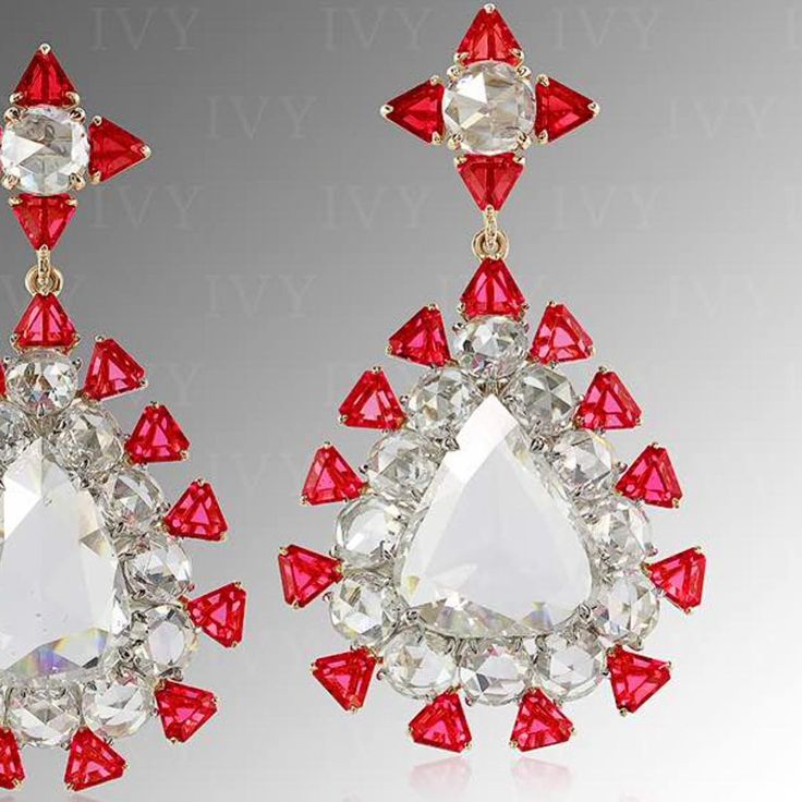Rose cut Diamonds and Angel cut Spinels from Mogok!  #diamonds #red #spinel #burma #ivy #ivynewyork #handcrafted www.ivynewyork.com