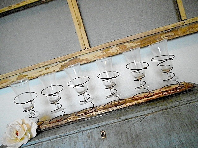Old Vintage - Salvaged Upcycled Primitive Farmhouse Rusty Bed Springs Candelabra - Repurposed CENTER PIECE - Wine Glass Holder - Rack - Country Wedding. $59.95, via Etsy.