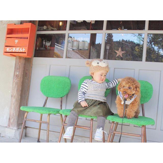 ☆ 深夜のきゅうけい〜🍟 カンナと小鉄のツーショット❤ 仲いいのか悪いのか??❤ #モンネポルト#愛犬#姪っ子#小鉄#こてつ#カンナ#子供と犬#波佐見#地元#833