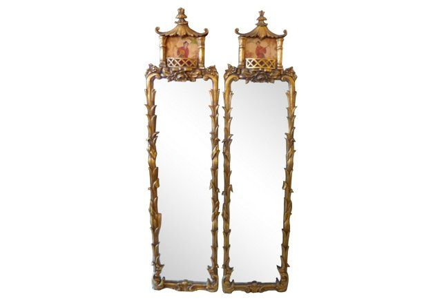 Carved Wood Asian-Style Mirrors, Pair