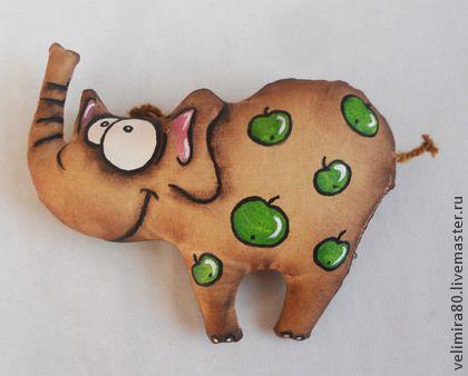 Слон в яблоках. - коричневый,кофейный,игрушка,игрушка ручной работы,текстильная…