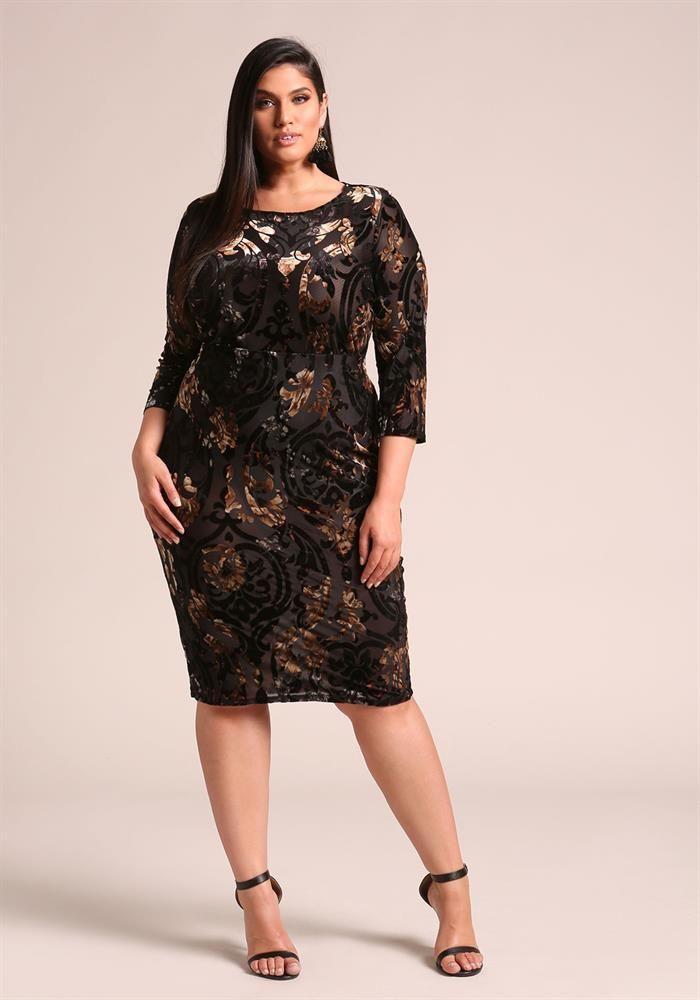 Plus Size Clothing | Plus Size Floral Velvet Burn Out Skirt | Debshops