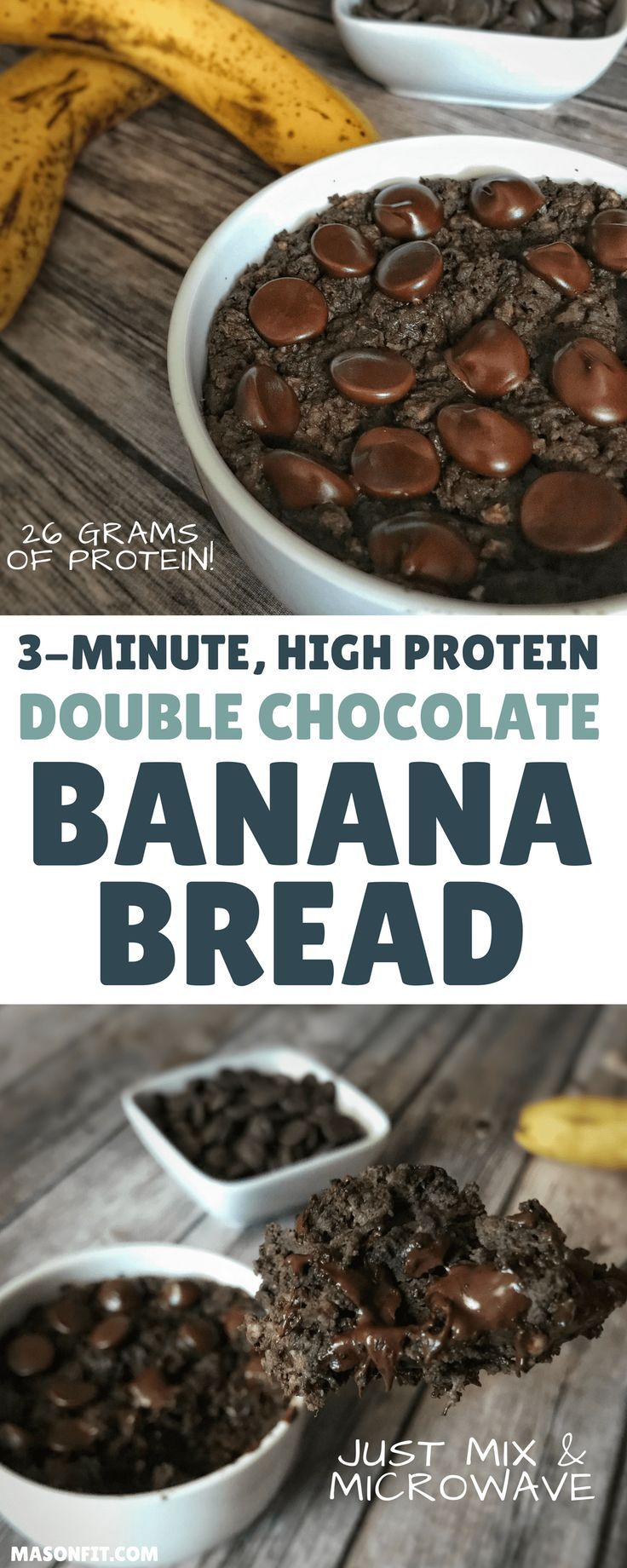 This high protein banana bread recipe puts a double chocolate spin on classic banana bread and packs 26 grams of protein into one microwaveable mug cake-style banana bread loaf. With a short ingredient list and under 2-minute cook time, this is perfect fo