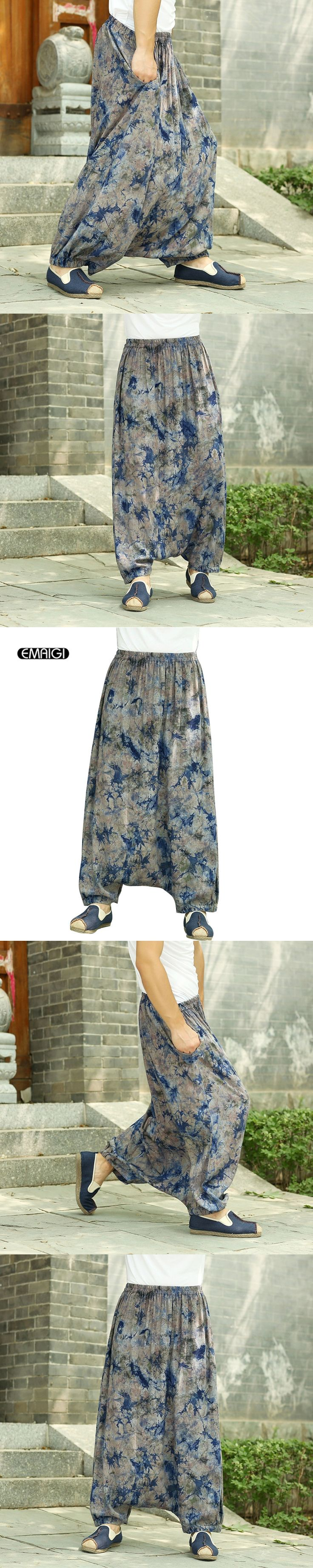 Plus Size Chinese Style Retro Men Casual Pants Linen Printing Large Crotch Wide Leg Pants Cross Pants Male Harem Trousers