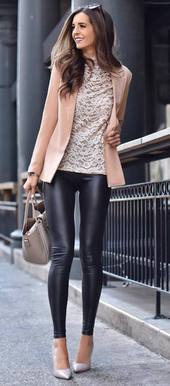 83b07dcc30e50 what to wear with a nude blazer bag top black leggings heels   FashionTrendsBlack