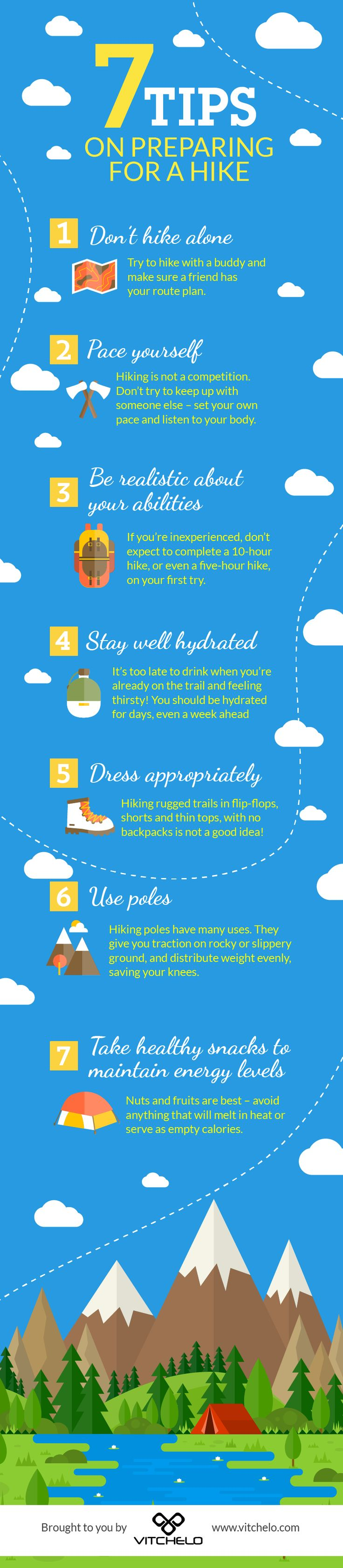 Hiking Safety Tips: How To Prepare, What To Wear and What To Bring http://vitchelo.com/hiking/hiking-safety-tips/?utm_campaign=coschedule&utm_source=pinterest&utm_medium=VITCHELO%C2%AE%20%7C%20Outdoor%20Gear&utm_content=Hiking%20Safety%20Tips%3A%20How%20To%20Prepare%2C%20What%20To%20Wear%20and%20What%20To%20Bring