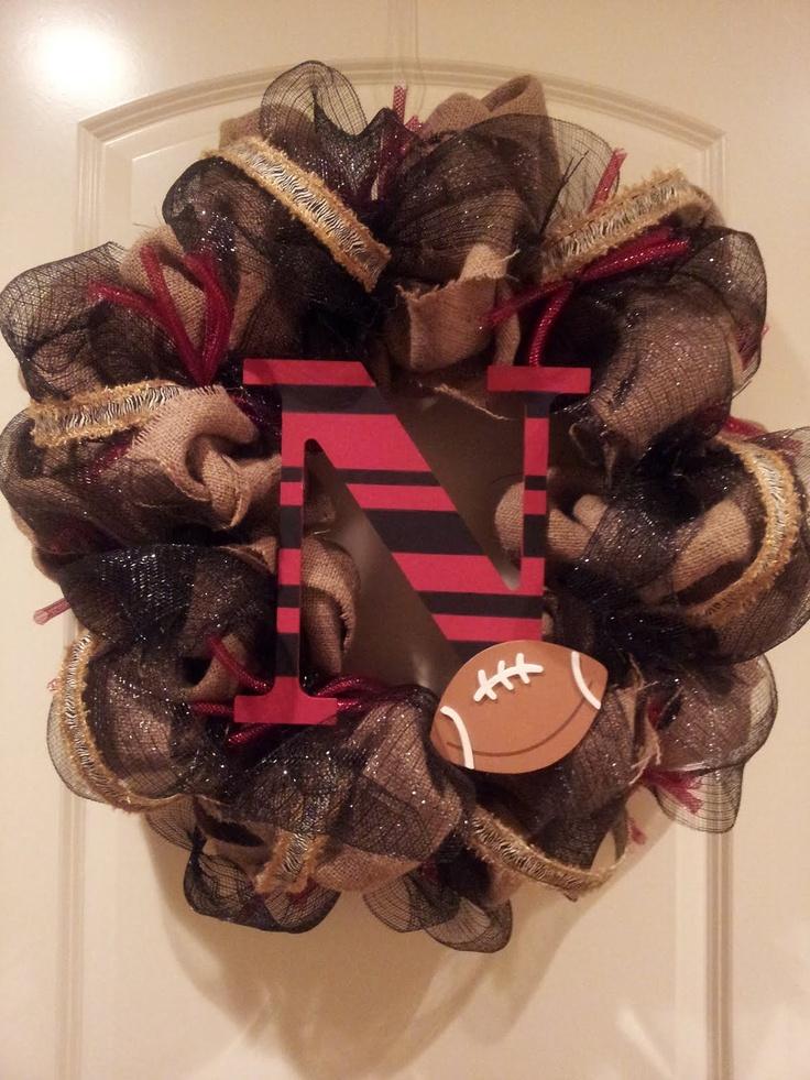 Burlap & DecoMesh Husker Wreath. $85.00, via Etsy.