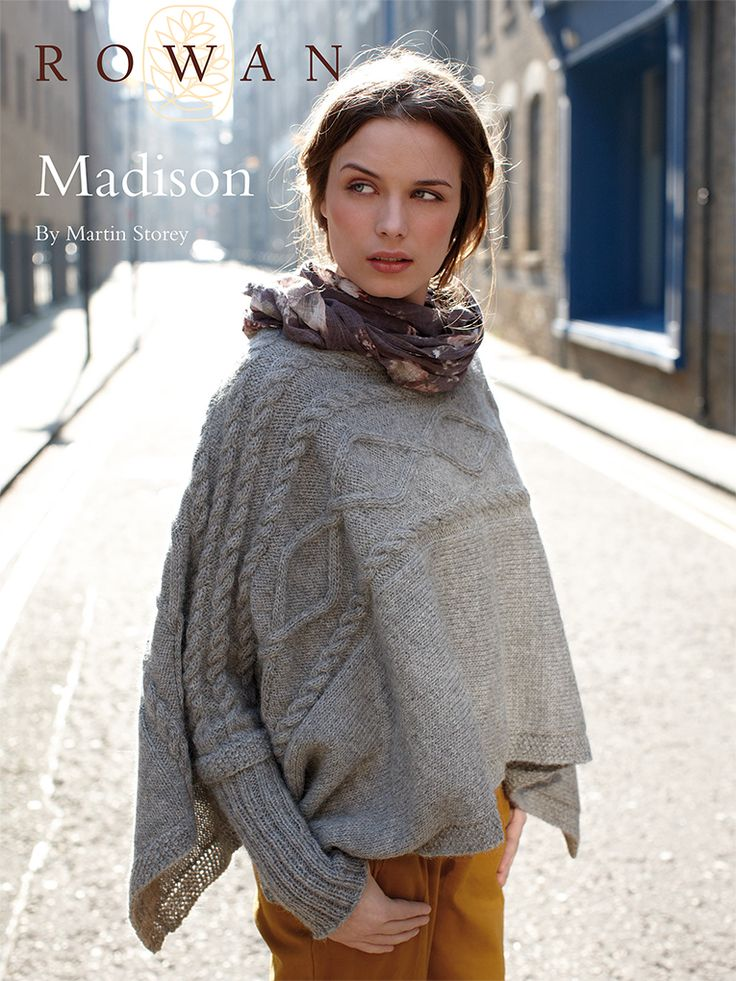 Madison - this elegant ladies poncho, designed by Martin Storey is knitted sideways, has cable patterns and deep rib cuff detail - register for free download