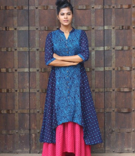Navy Blue Printed Sungudi Cotton Kurta -shalini James Mantra.com