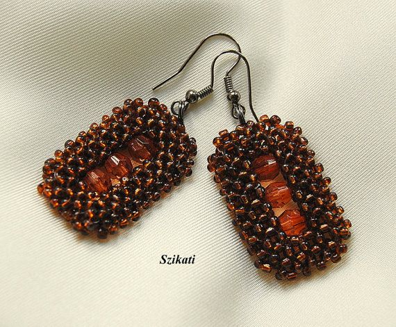 Beaded brown seed bead Right Angle Weave earrings OOAK by Szikati, $30.00